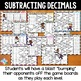Subtracting Decimals Games: 10 Differentiated Bump Games for Decimal Subtraction