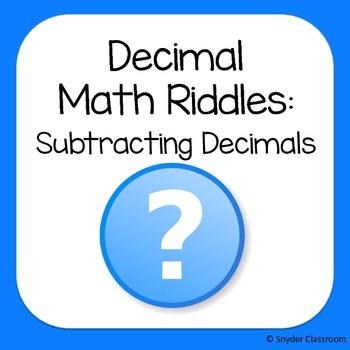 Subtracting Decimals Math Riddles