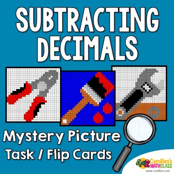 Subtracting Decimals Coloring Sheets Mystery Pictures Task Cards