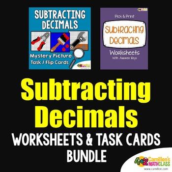 Subtracting Decimals Project, 4th - 5th Grade Math Coloring Worksheets