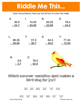 Summer Subtracting Decimals Math Riddles