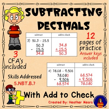 Subtracting Decimals - Add to Check