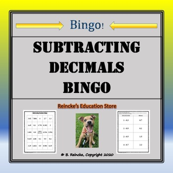 Subtracting Decimals Bingo (30 pre-made cards!)