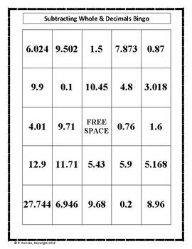 Subtracting Decimals Bingo (30 pre-made cards!)