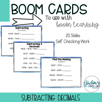 Subtracting Decimals Boom Cards [For Boom Learning]