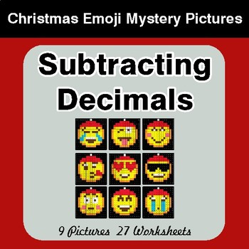 Subtracting Decimals - Christmas EMOJI Color-By-Number Mystery Pictures