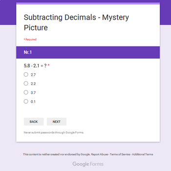 Subtracting Decimals - Christmas EMOJI Mystery Picture - Google Forms
