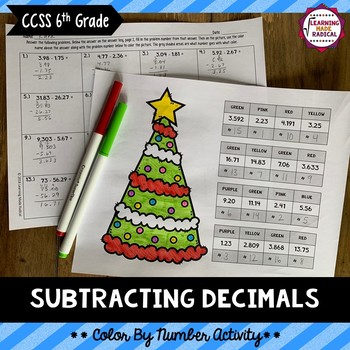 Subtracting Decimals Color By Number Activity
