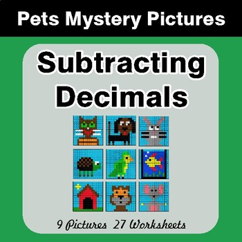 Subtracting Decimals - Color-By-Number Math Mystery Pictures - Pets Theme