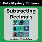 Subtracting Decimals - Color-By-Number Mystery Pictures -