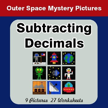 Subtracting Decimals - Color-By-Number Math Mystery Pictures - Space theme