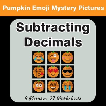 Subtracting Decimals - Color-By-Number PUMPKIN EMOJI Math Mystery Pictures
