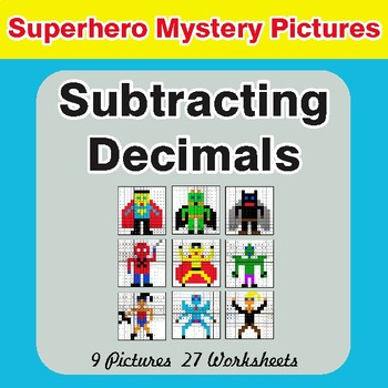 Subtracting Decimals - Color-By-Number Superhero Mystery Pictures