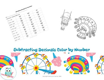 Subtracting Decimals Color by Number