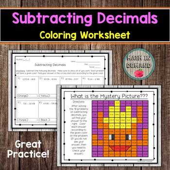 Subtracting Decimals Coloring Worksheet