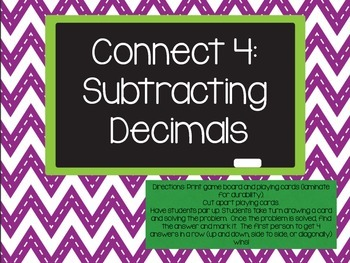 Subtracting Decimals Connect 4