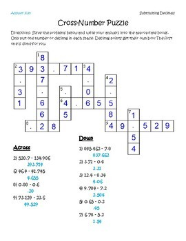 Subtracting Decimals Cross-Number Puzzle