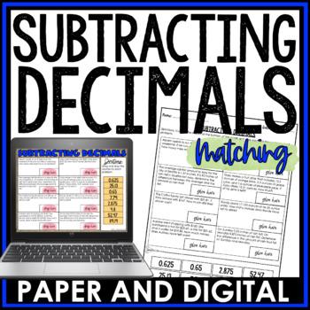 Subtracting Decimals Cut and Paste Activity