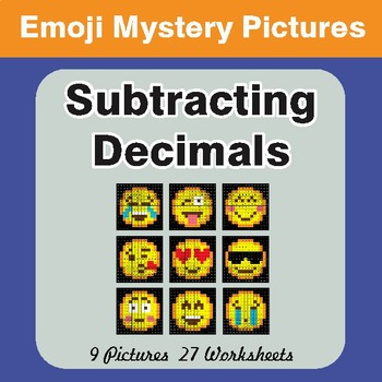 Subtracting Decimals EMOJI Mystery Pictures
