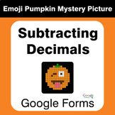 Subtracting Decimals - EMOJI PUMPKIN Mystery Picture - Goo