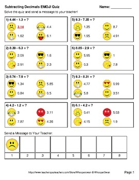 Subtracting Decimals Emoji Quiz