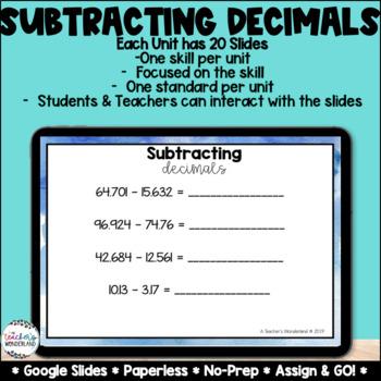 Subtracting Decimals [Google Classroom Compatible]