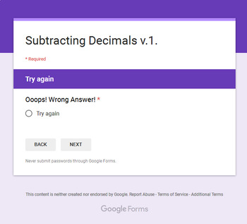 Subtracting Decimals - Interactive Digital Task Cards - Google Forms
