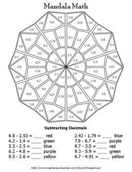 Subtracting Decimals Mandala Math Color by Number