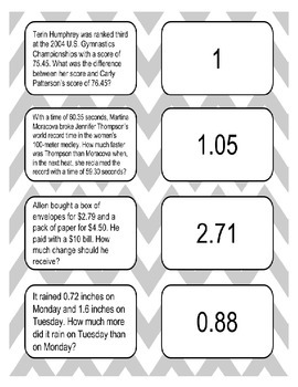 Subtracting Decimals Matching Task Cards