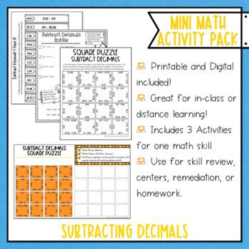 Subtracting Decimals Math Activities