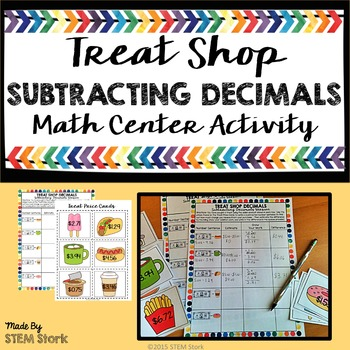 Subtracting Decimals Math Center Activity