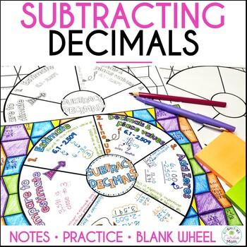 Subtracting Decimals Math Wheel
