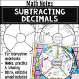 Subtracting Decimals Math Wheel