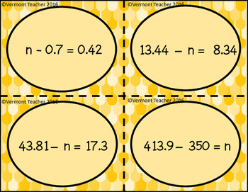 Subtracting Decimals - Missing Minuend, Subtrahend, or Difference