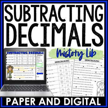Subtracting Decimals Mistory Lib Activity