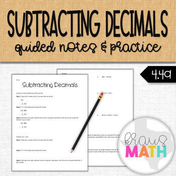 Subtracting Decimals: Guided Notes and Practice