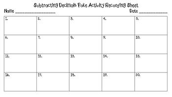 Subtracting Decimals Poke Activity 5.NBT.7 6.NS.B.3