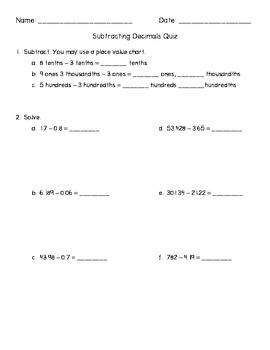 Subtracting Decimals Quiz - Common Core Aligned