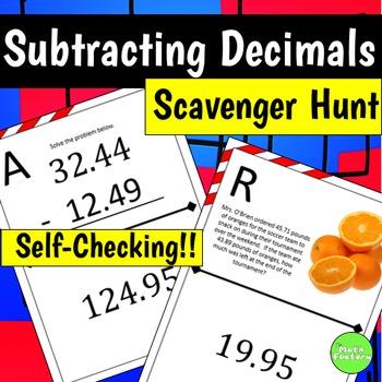 Subtracting Decimals Scavenger Hunt Activity