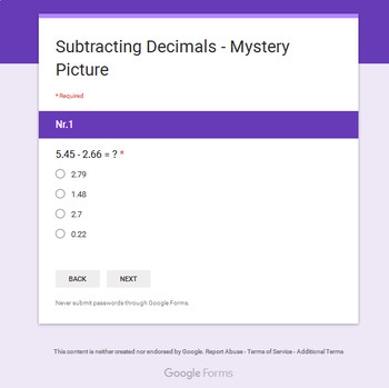 Subtracting Decimals - Superhero Mystery Picture - Google Forms