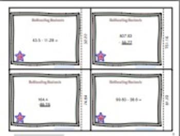 Subtracting Decimals Task Cards