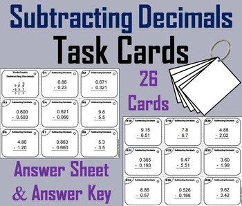 Subtracting Decimals Task Cards 4th 5th 6th Grade