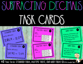 Subtracting Decimals Task Cards Freebie