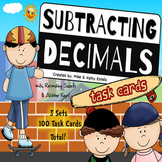 Subtracting Decimals Task Cards {Multiple Choice, Standard Form and Word Form}