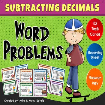Subtracting Decimals Task Cards {Word Problems}