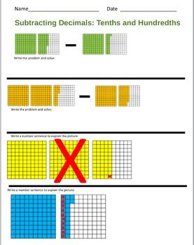 Subtracting Decimals Tenths hundreths All Levels Work sheet