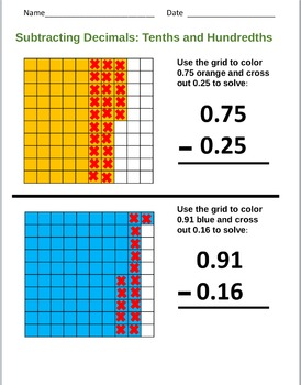 Subtracting Decimals Tenths hundreths All Levels Work sheet