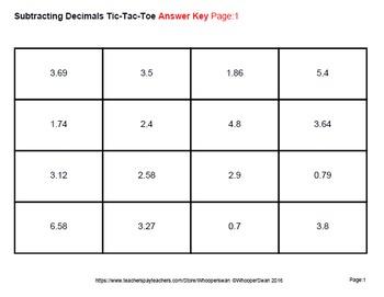 Subtracting Decimals Tic-Tac-Toe