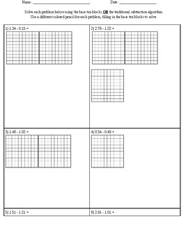 base ten block worksheets teaching resources  teachers pay teachers  subtracting decimals using base ten blocks worksheet