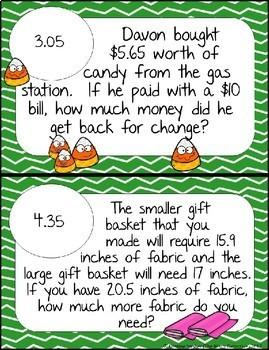 Subtracting Decimals Word Problems - Math Scavenger Quest